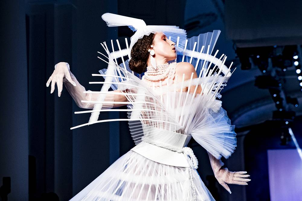 US model Anna Cleveland presents a creation from the Spring/Summer 2019 Haute Couture collection by French designer Jean-Paul Gaultier during the Paris Fashion Week, in Paris, January 23