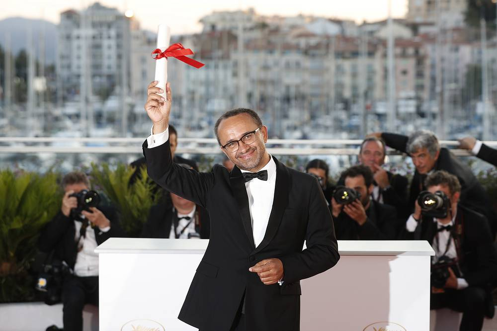 Director Andrey Zvyagintsev with his Jury Prize award for his film 'Loveless' at the 70th annual Cannes Film Festival, 2017