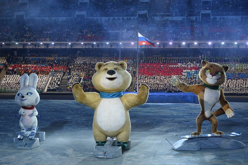 Olympic mascots, the Leopard, the Polar Bear and the Hare