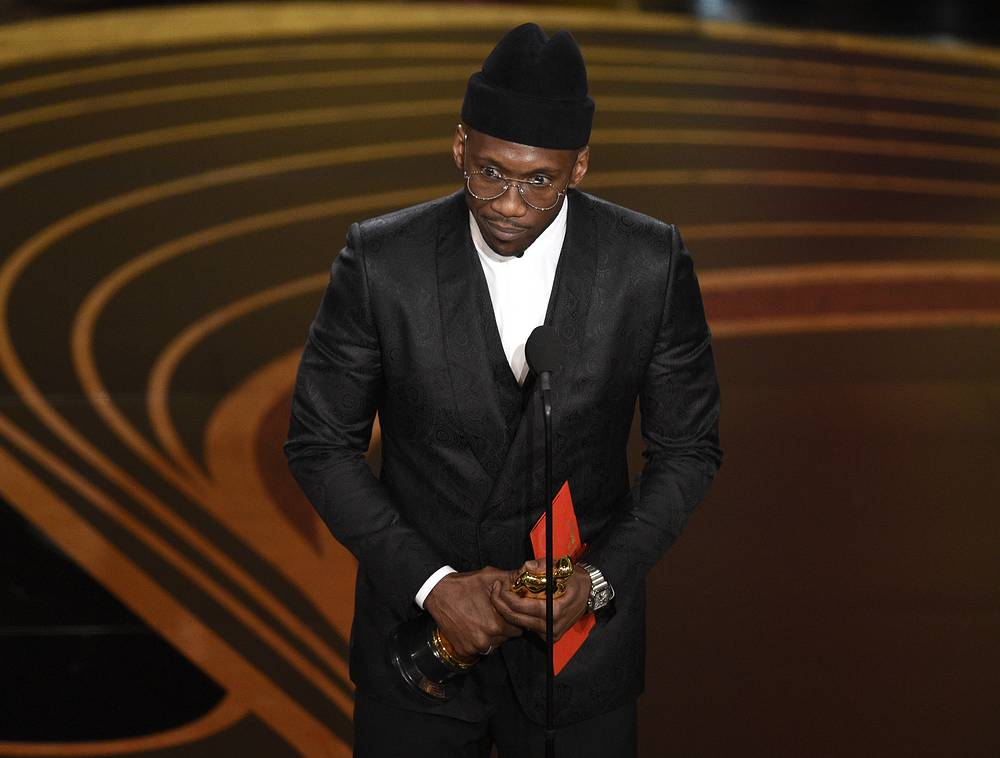 "Mahershala Ali accepts the award for best performance by an actor in a supporting role for ""Green Book"""