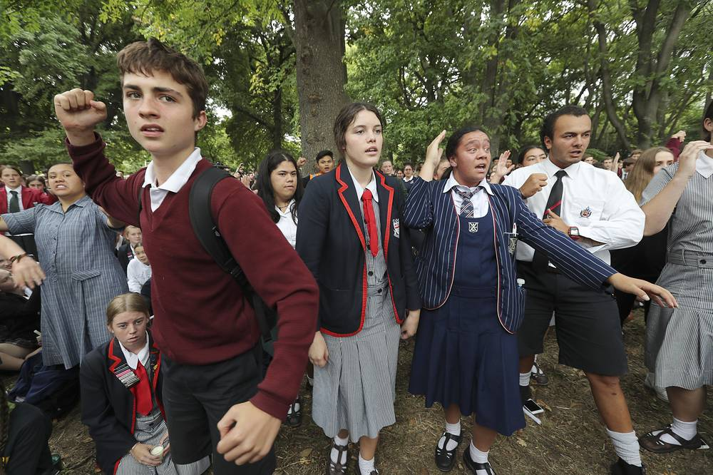 Students perform the Haka outside the Al Noor mosque in Christchurch