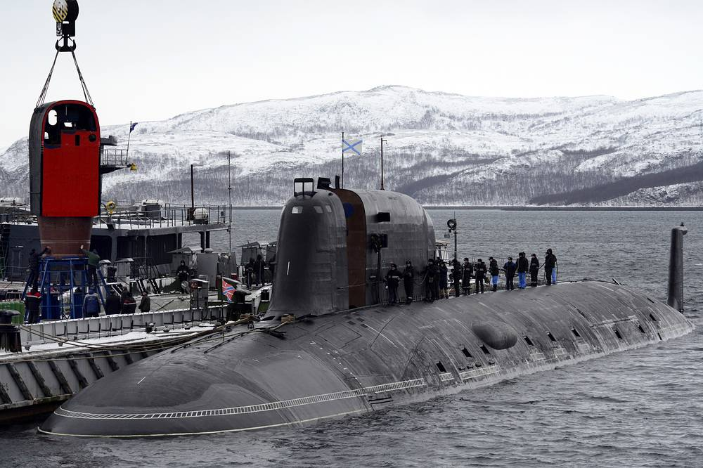 The Russian Northern Fleet's Severodvinsk nuclear submarine is seen during an exercise in the Barents Sea