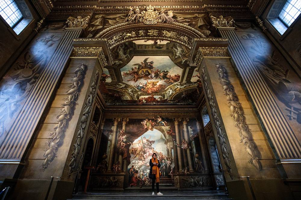 The newly restored Painted Hall is pictured at the Old Royal Naval College in London, March 20. The Painted Hall, designed by Sir Christopher Wren in the early 18th centrury, reopens to the public on March 23, 2019 after two and a half years