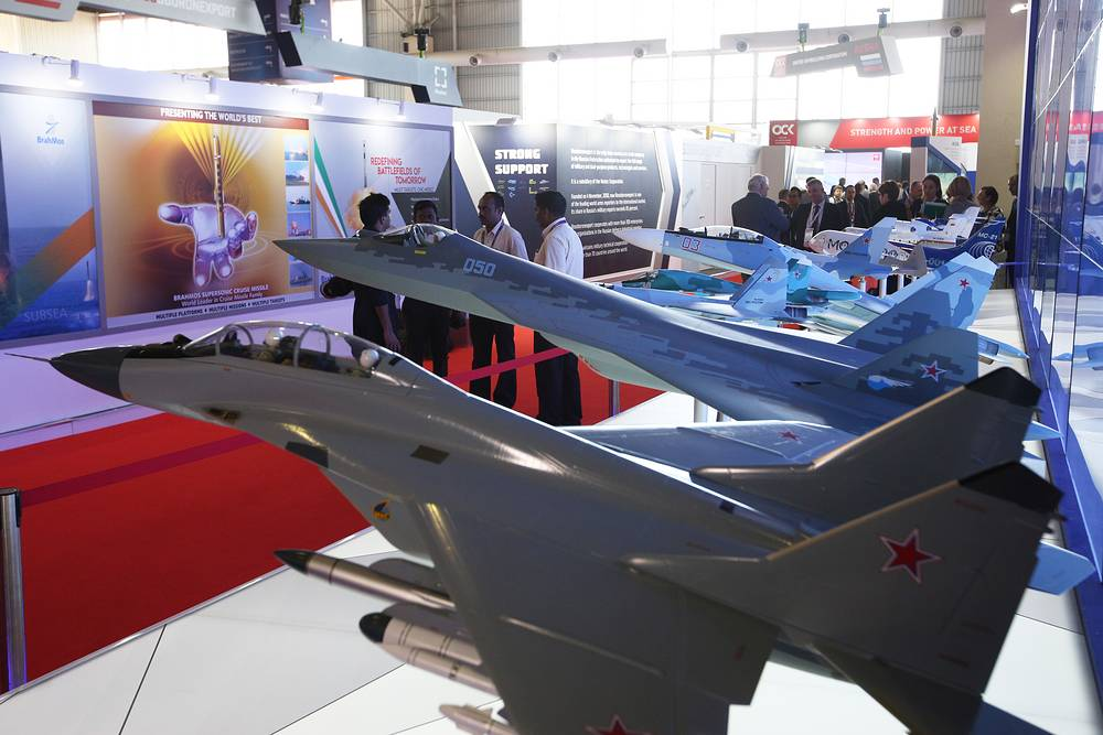 Warplane models on display at the Rosoboronexport stand at LIMA-2019 exhibition