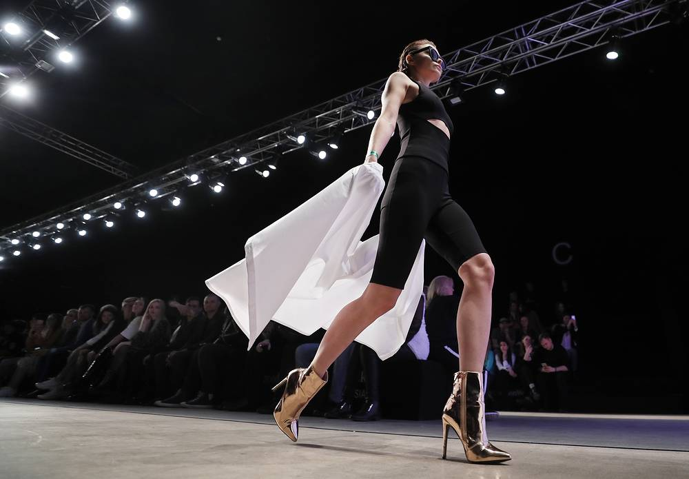 A model presents a creation by Russian designer Igor Chapurin