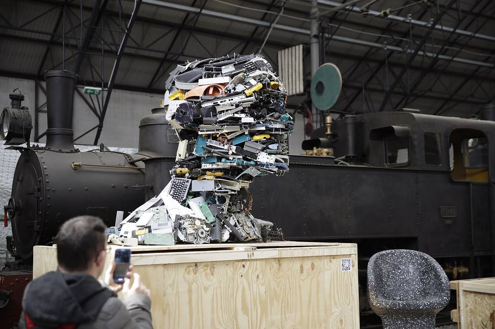 """'Electronic Man', created by recycled plastic parts of computers, by designer Piet Hein Eek. The Rossana Orlandi gallery has organized a """"Plastic Prize"""", on the sidelines of the Milan Furniture fair week, challenging designers to create projects aimed at overcoming the global problem of plastic pollution"""