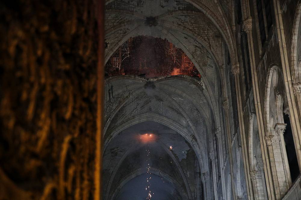 General view of the roof of the Notre-Dame Cathedral after a massive fire