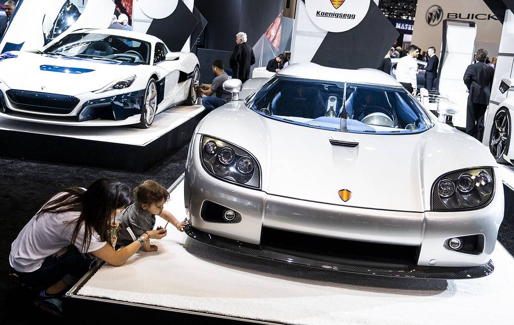 Koenigsegg CCX, which has a base price of $695,000/€615,141, on display at the Jacob K. Javits Convention Center in New York