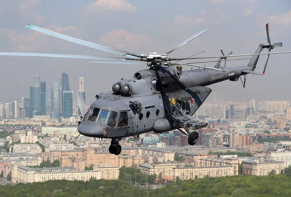 Mi-8 helicopter flying over Moscow