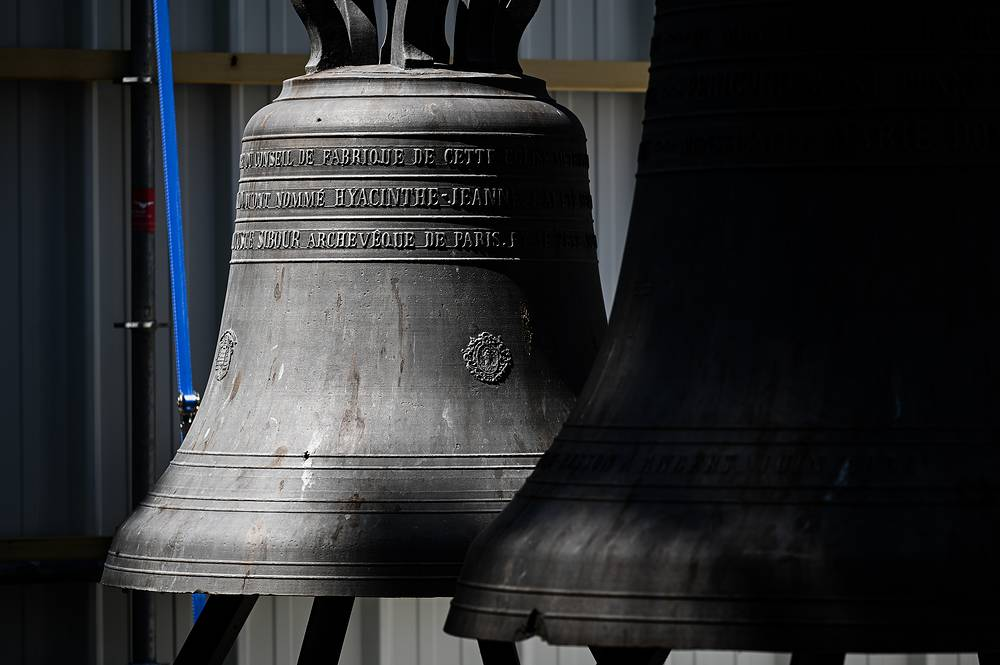Bells gathered during preliminary work at the Notre Dame de Paris Cathedral