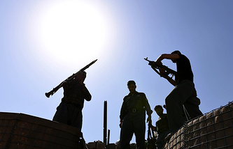 Afghan security officials seen during an operation against Taliban and Islamic State militants