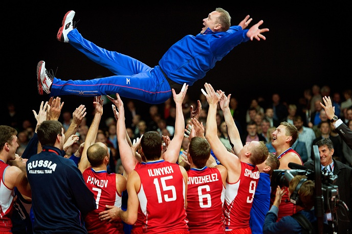 Russian Men's team with coach Andrey Voronkov after winning European volleyball championship
