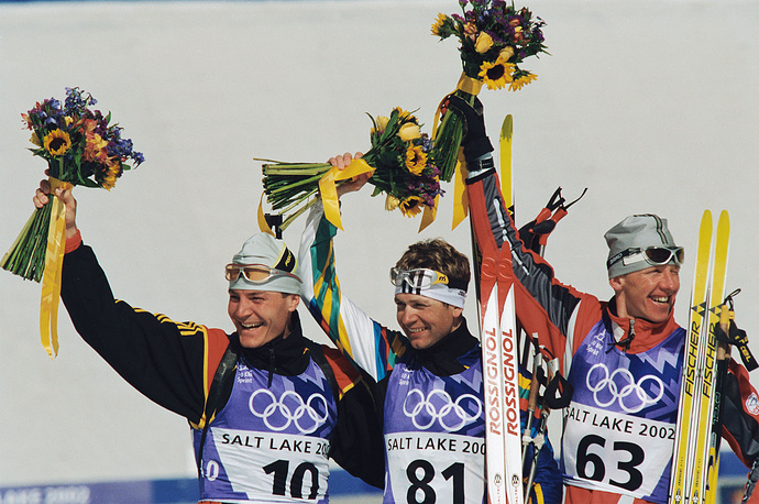 Ole Einer (center) at the Olympics in Salt Lake City