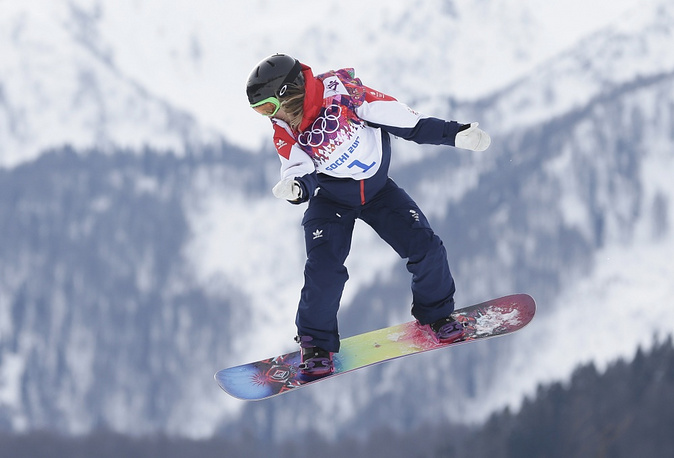 Britain's Jenny Jones jumps during the women's snowboard slopestyle semifinal