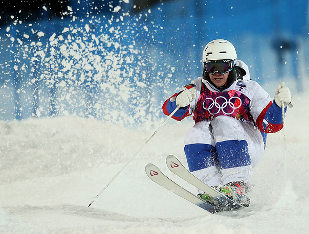 Alexander Smyshlyaev of Russia in action during the Freestyle Skiing Men's Moguls Final at the Sochi 2014 Olympic Games