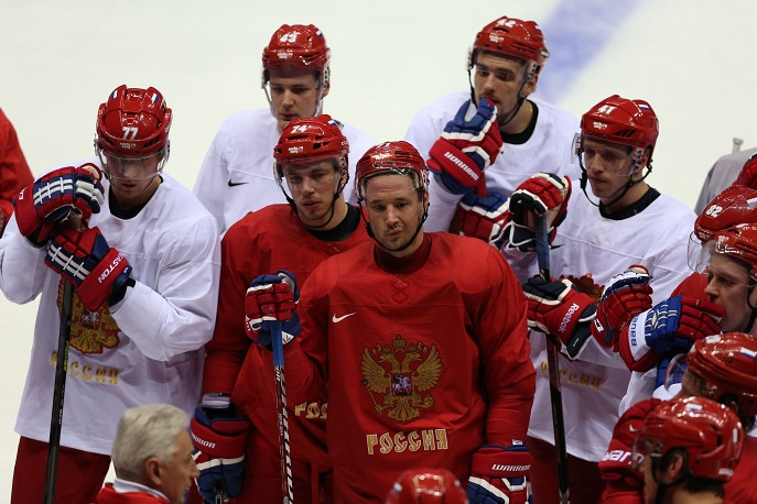 Russian hockey players at the first training session