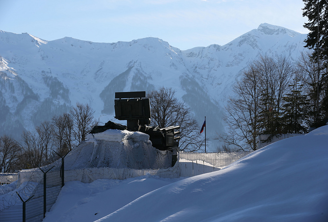 An anti-aircraft artillery of the Russian military is seen near Sochi