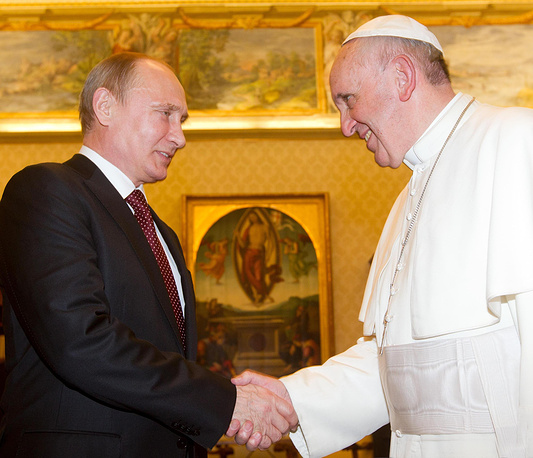 Russian President Vladimir Putin with Pope Francis