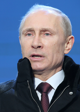 Vladimir Putin at a rally on Red Square