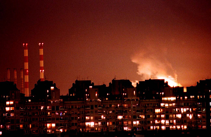 Flames seen in Belgrade on March 24, 1999