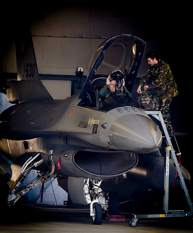 A F16 of Dutch Quick Reaction Alert for the upcoming Nuclear Security Summit 2014 exercises at Volkel Air Base in Volkel