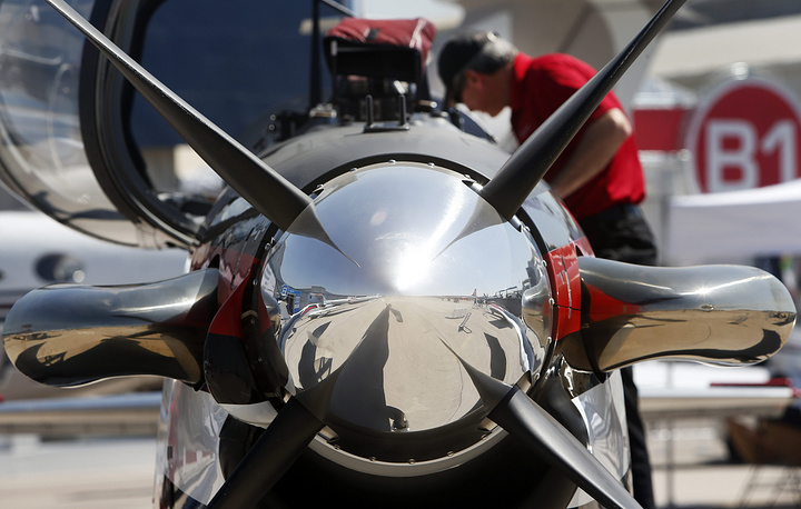 Detail of a T6 Beechcraft aircraft