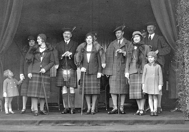 """Elizabeth's close family called her """"Lilibet"""" in childhood. Photo: Britain's Princess Elizabeth, later Queen Elizabeth II, front right, stands with her mother and father, Duke and Duchess of York , fourth and fifth from right in 1932"""