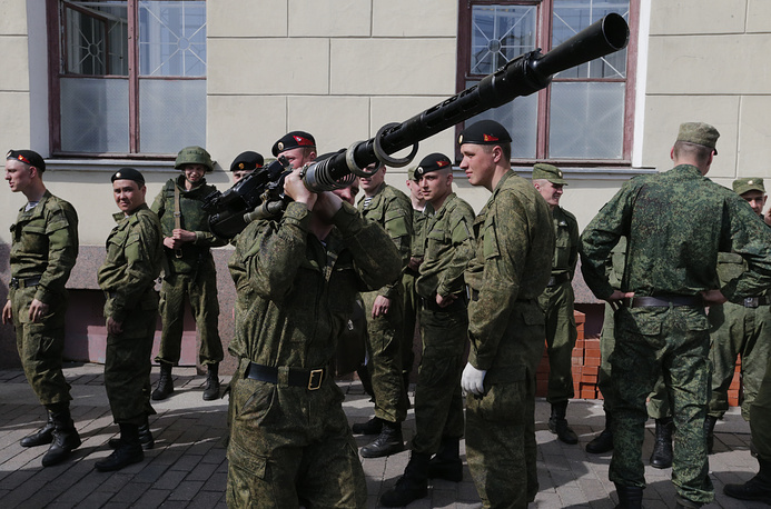 Russian soldiers prepare to a rehearsal for a Victory parade in St. Petersburg