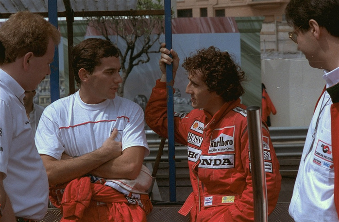 In 1988 Senna signed a contract with McLaren, where he competed with Alain Prost (right)