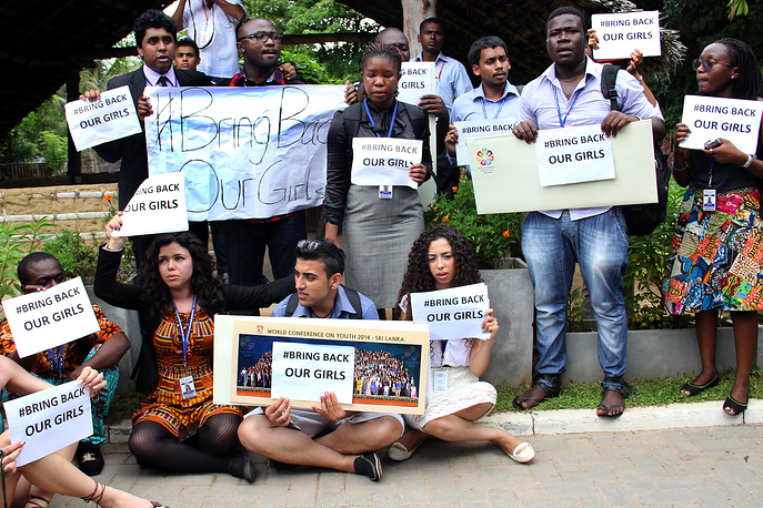 Demonstration in support of the abducted girls in Colombo, Sri Lanka