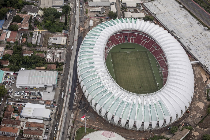 Beira-Rio stadium in  in Porto Alegre was built in 1969 but is being reconstructed for the World Cup. The stadium used to have a capacity of 0-,ooo, but after the reconstruction it can only room 56,000