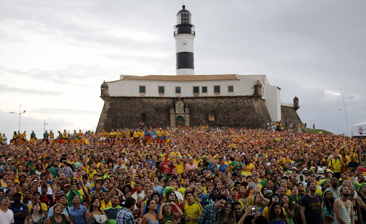 Football viewers in Brazil's Salvador