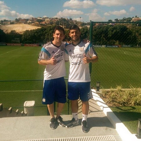 Lionel Messi and Sergio Aguero during Argentina's first training session in Brazil
