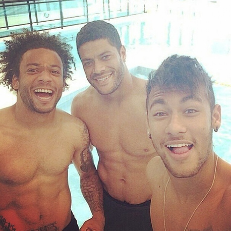 Marcelo, Hulk and Neymar celebrate Brazil's win over Croatia in the opening match of the World Cup