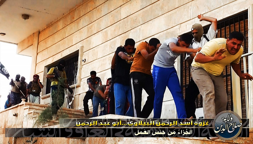 Iraqi military servicemen captured by the militants