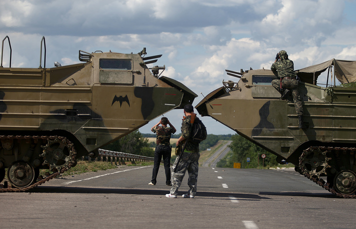 At a militia checkpoint outside Luhansk, June 16