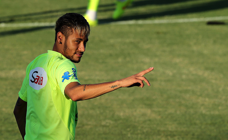 Brazil's Neymar during a training session