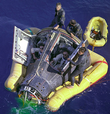 The three astronauts returned to Earth and splashed down in the Pacific ocean