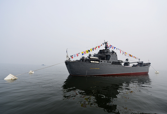 Large landing ship Nikolai Vilkov during Navy Day parade rehearsal in Vladivostok