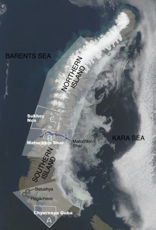 Novaya Zemlya consists of two major islands, separated by the narrow Matochkin Strait. The archipelago was the site of one of the two major nuclear test sites managed by the USSR