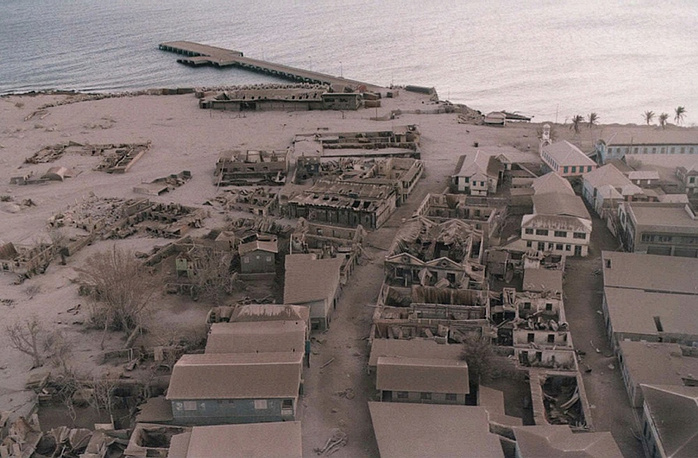 Plymouth, the capital of Montserrat, an overseas territory of the UK, was abandoned by its 4,000 citizens after a series of volcanic eruptions in the 1990's