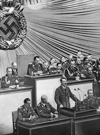 Adolf Hitler makes a speech in the Reichstag several hours afer the start of the invasion. Formally, Hitler didn't declare war on Poland