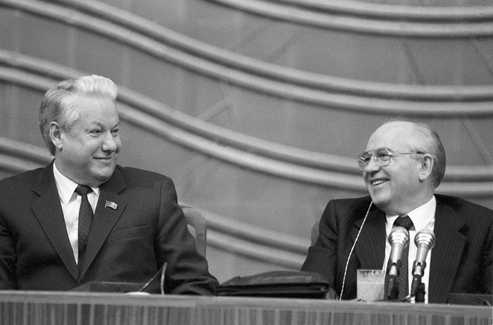 Chairman of the Supreme Council of RSFSR Boris Yeltsin and USSR President Mikhail Gorbachev at the VI Congress of Public Deputies of the USSR, 1990