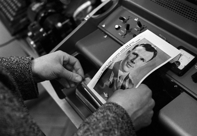 The photograph of Yury Gagarin is sent to Prague by facsimile machine, 1961