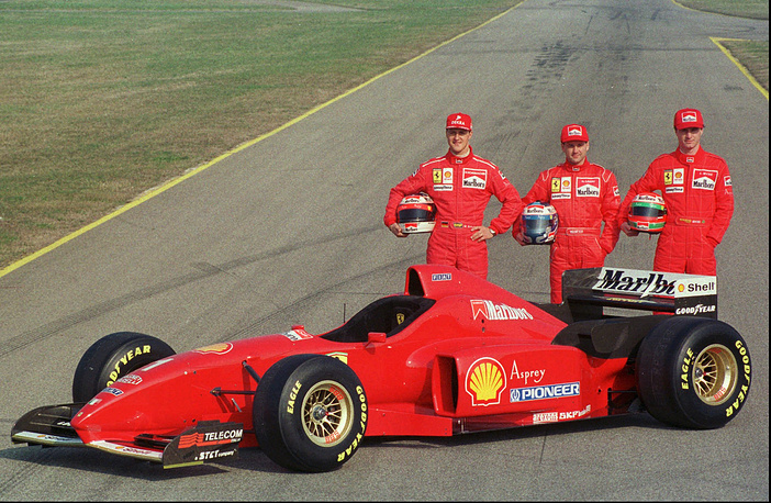 Technical innovation has always been the basis of Formula One. It takes many million dollars in research and development to improve the performance of the cars. Photo: Michael Schumacher, Nicola Larini and Irish Eddie Irvine during the unveiling of the brand new Ferrari F310 F1 car, Maranello, February 15, 1996