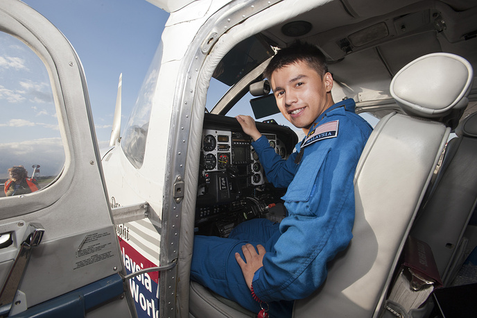 Malaysian pilot Captain James Antony Tan, aged 21 became a youngest pilot to fly solo around the world, according to the World Record Academy. Photo: James Antony Tan after landing at Southend Airport, England on 27 April 2013