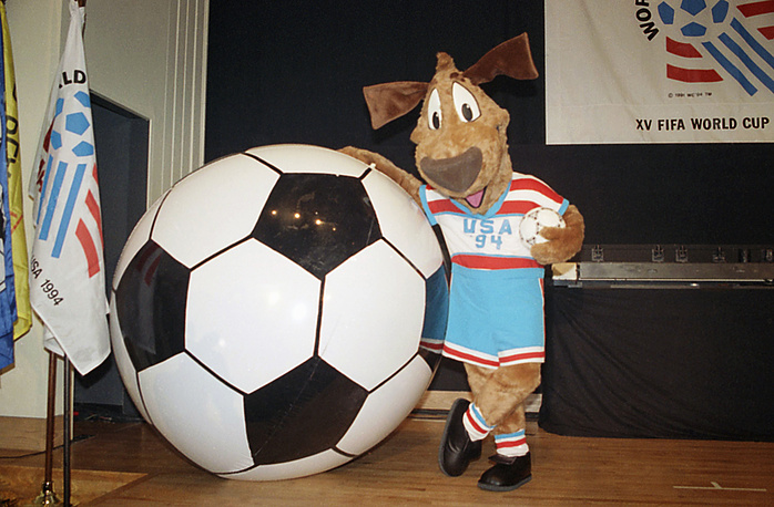 15th FIFA World Cup was held in the United States from 17 June to 17 July 1994. The official mascot of this World Cup was Striker, a dog wearing a red, white and blue soccer uniform with a soccer ball. Striker was designed by the Warner Bros. animation team