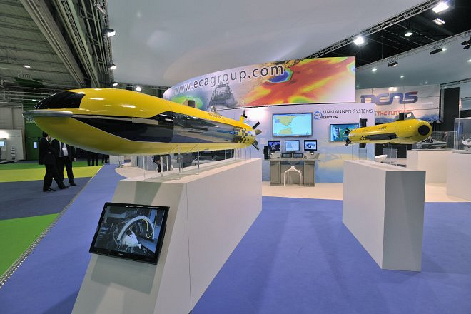 Stand of French company ECA Group, which specializes in the field of robotics, simulation and naval equipment