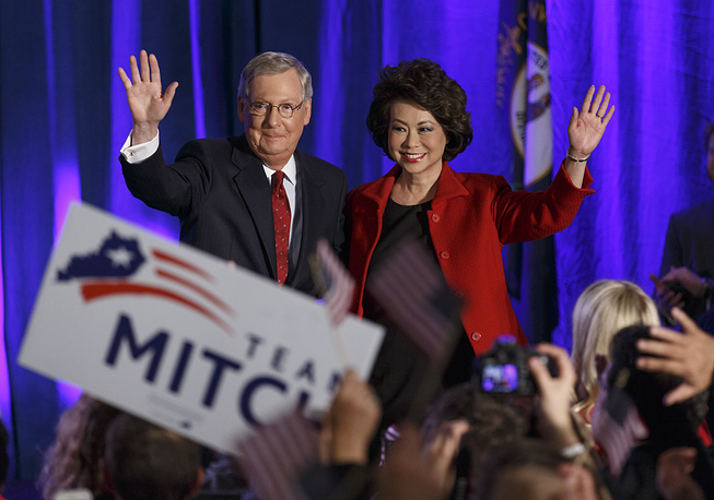 In the US state of Kentucky, Senate Republican leader Mitch McConnell defeated Democratic challenger Alison Lundergan Grimes
