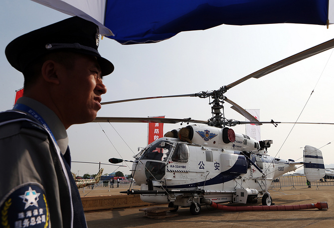 Photo: A Ka-32A11BC firefighting helicopter on display